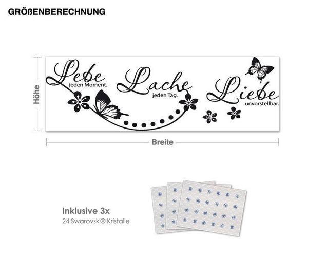 Wandtattoo Schmetterling inkl. 3x 15 Swarovski® Kristalle