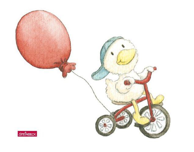 Wandtattoo Schnaddeldatz fährt Fahrrad