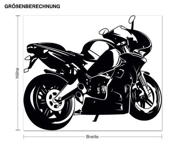 Wandtattoo Schwarzes Motorrad
