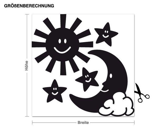 Wandtattoo Sonne, Mond und Sterne