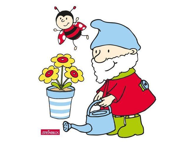 Wandtattoo Steinbeck Zwerg gießt Blume