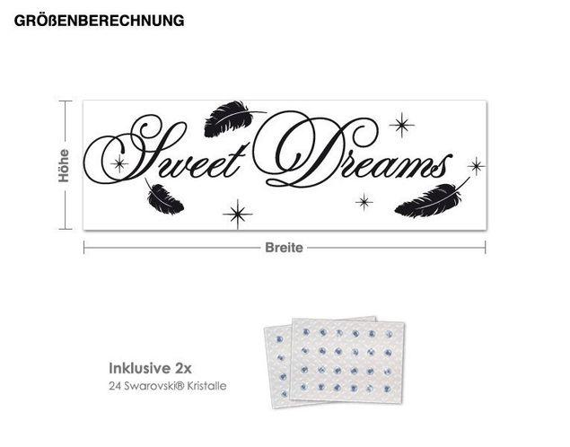 Wandtattoo Sweet Dreams inkl. 2x 15 Swarovski® Kristalle