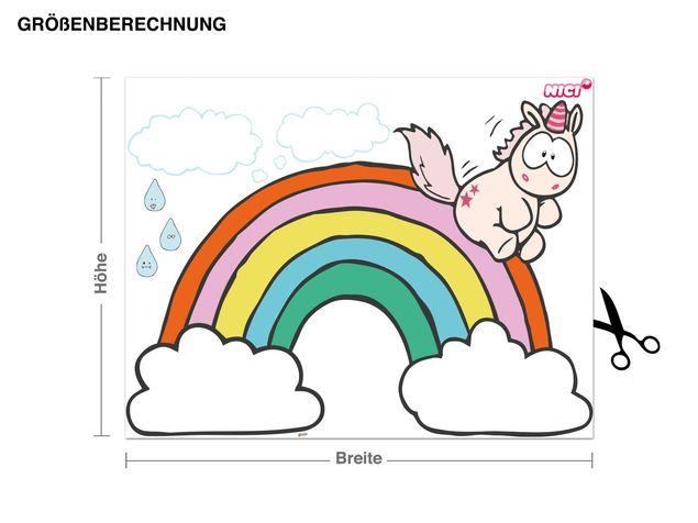 Wandtattoo Theodor rutscht von Regenbogen