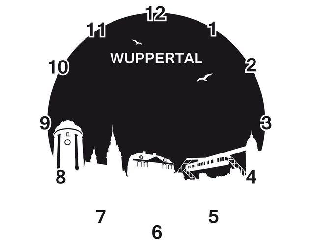 Wandtattoo Skyline Uhr No.RS170 Wuppertal