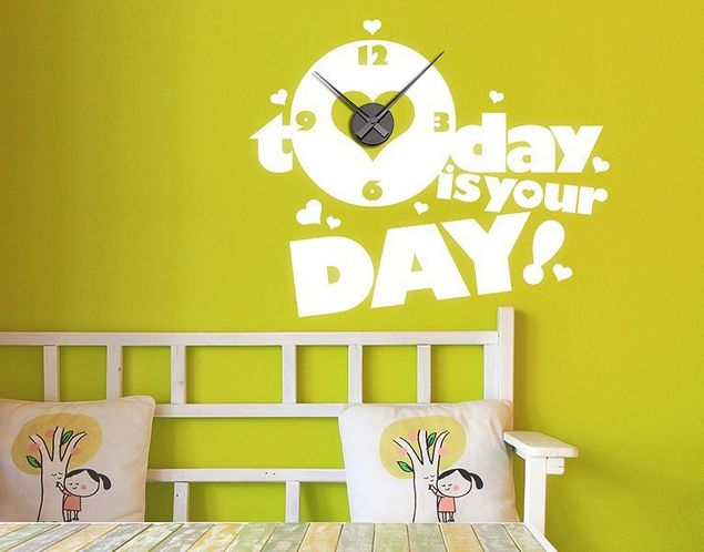 Wandtattoo-Uhr Today is your Day
