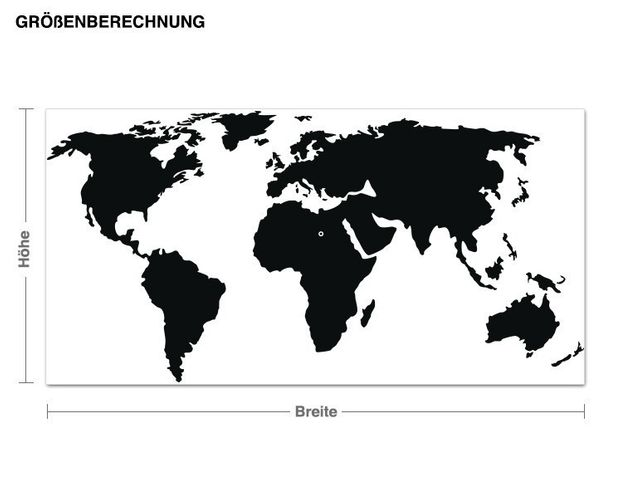Wandtattoo-Uhr Weltkarte