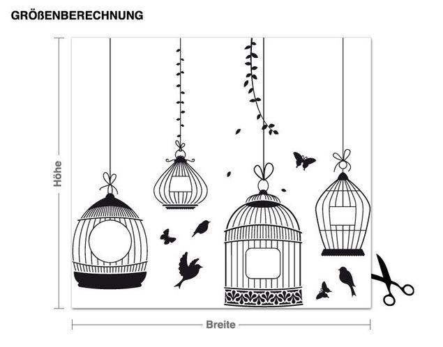 Wandtattoo Vogelkäfige
