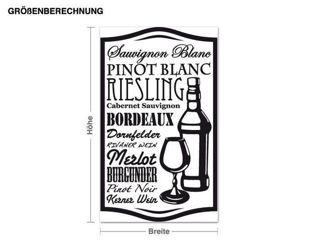 Wandtattoo Wein Sorten