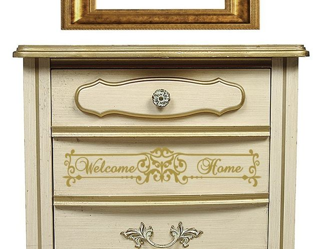 Wandtattoo Welcome Home floral