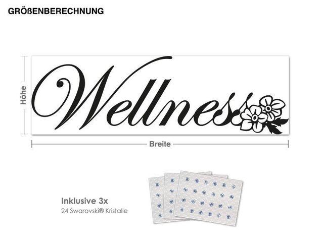 Wandtattoo Wellness inkl. 3x 15 Swarovski® Kristalle