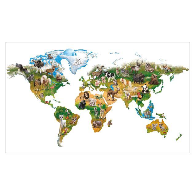 Wandtattoo Kinderzimmer - Animal Club International - Weltkarte mit Tieren