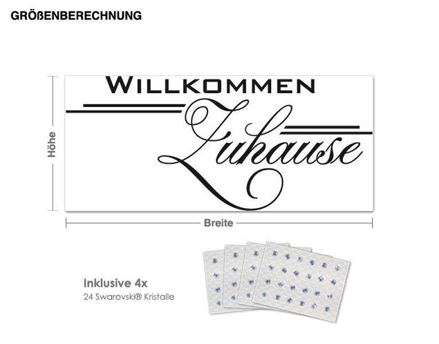 Wandtattoo Willkommen inkl. 4x 15 Swarovski® Kristalle