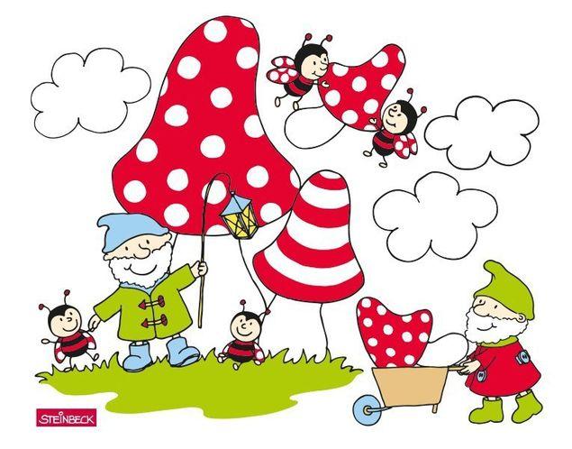 Wandtattoo Zwerge und Marienkäfer tragen Pilze