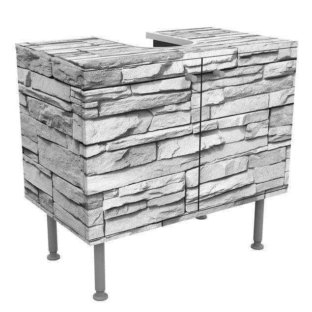 Waschbeckenunterschrank - Ashlar Masonry - Steinoptik Badschrank Grau