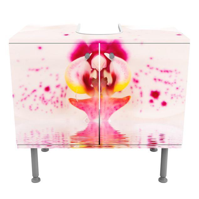 Waschbeckenunterschrank - Gepunktete Orchidee auf Wasser - Blumen Badschrank Weiß
