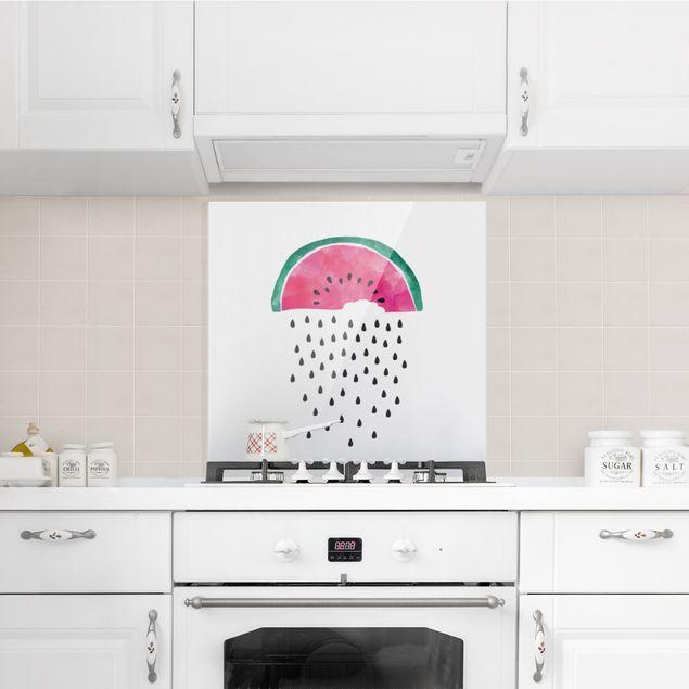 Spritzschutz Glas - Wassermelonen Regen - Quadrat 1:1