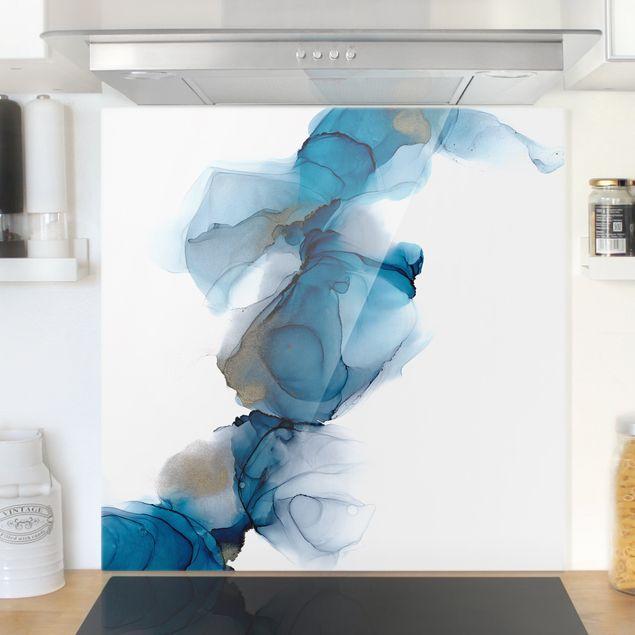 Spritzschutz Glas - Weg des Windes Blau und Gold - Quadrat 1:1