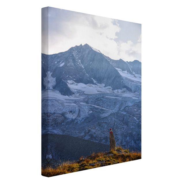 Leinwandbild - Wegmarkierung in den Alpen - Hochformat 2:3