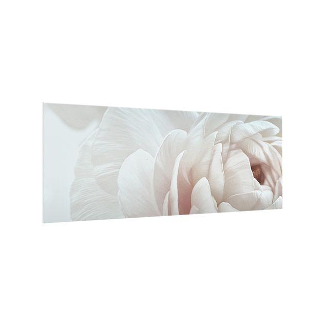 Spritzschutz Glas - Weiße Blüte im Blütenmeer - Panorama 5:2