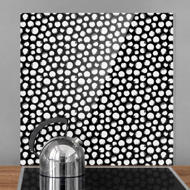 Spritzschutz Glas - Weiße Tusche Polkadots auf Schwarz - Quadrat 1:1