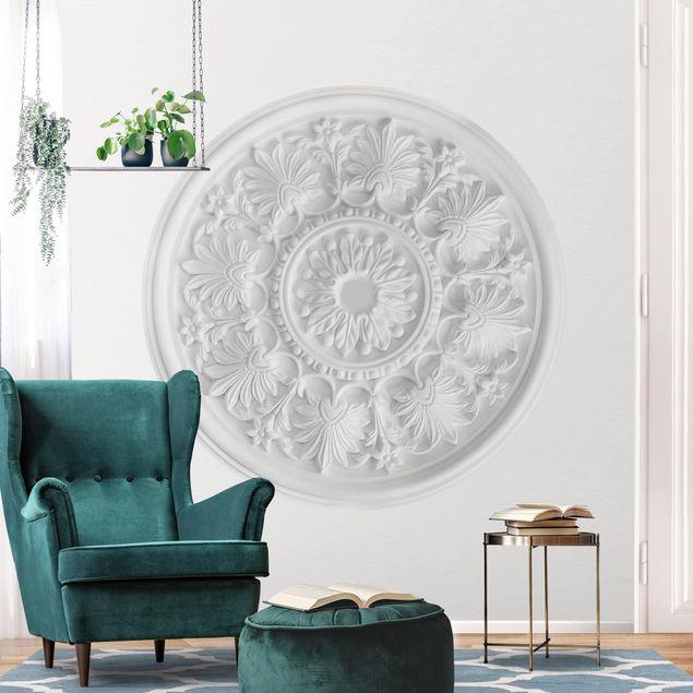 Runde Tapete selbstklebend - Weißer Stuck im Kreis
