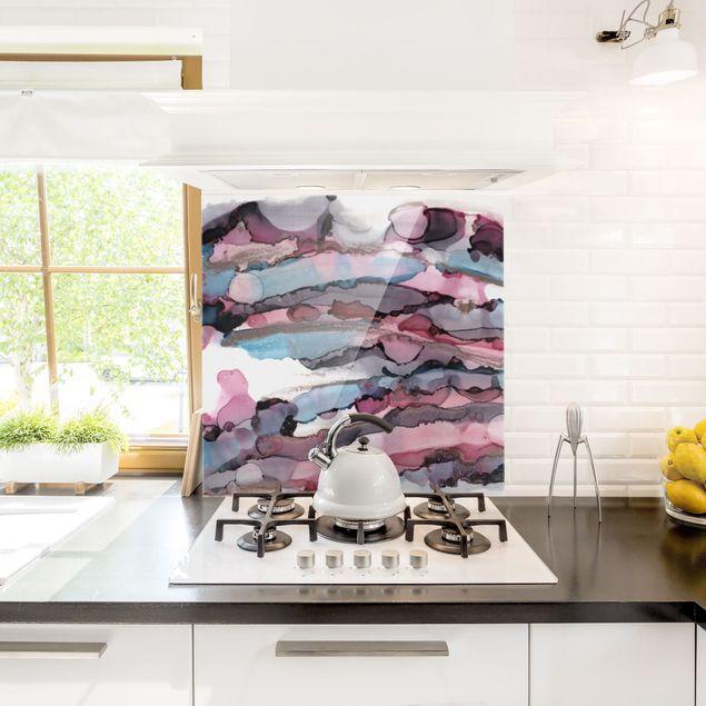 Spritzschutz Glas - Wellenreiten in Violett mit Roségold - Quadrat 1:1