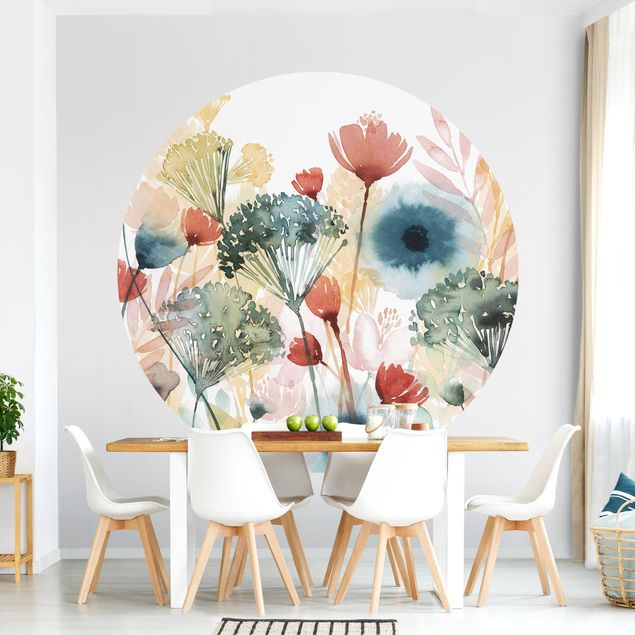 Runde Tapete selbstklebend - Wildblumen im Sommer I