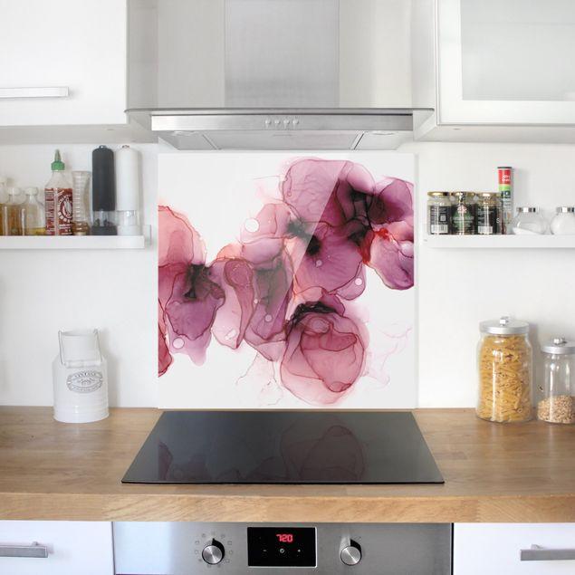 Spritzschutz Glas - Wilde Blüten in Violett und Gold - Quadrat 1:1
