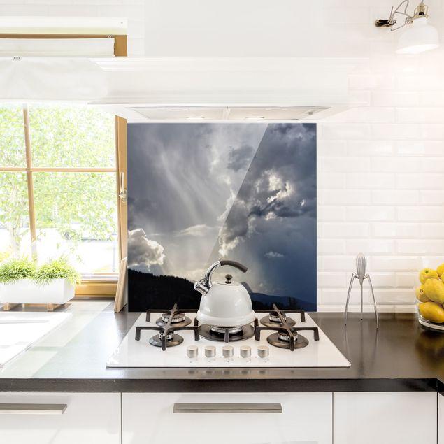 Spritzschutz Glas - Wilde Wolken - Quadrat 1:1