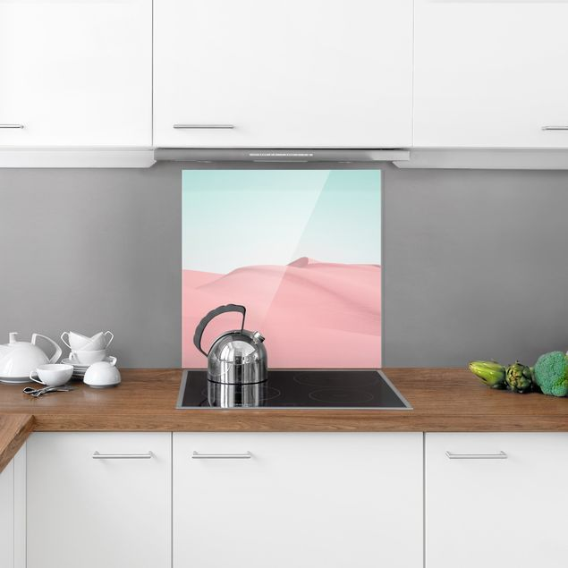 Spritzschutz Glas - Wüstentraum in Pastell - Quadrat 1:1