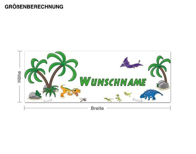 Wunschtext-Wandsticker Dinolandschaft Wunschtext