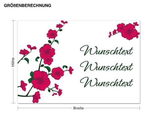 Wunschtext-Wandsticker Hibiskuszweig