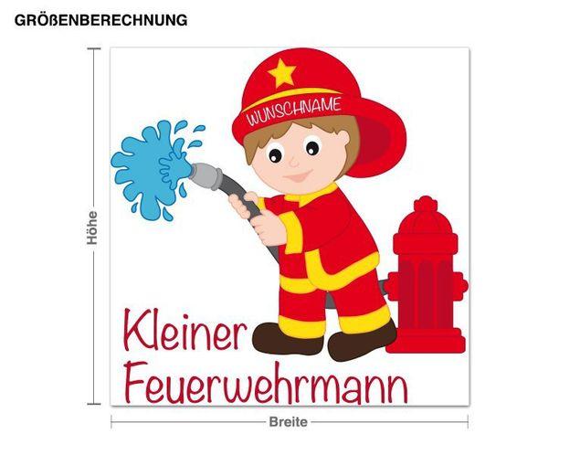 Wunschtext-Wandsticker Kleiner Feuerwehrmann