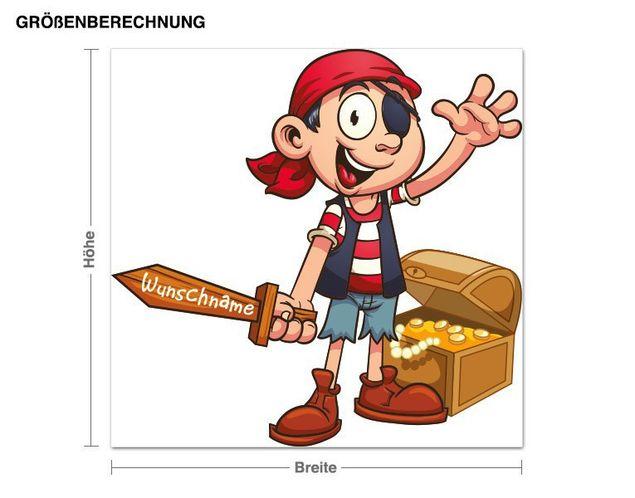 Wunschtext-Wandsticker Kleiner Pirat