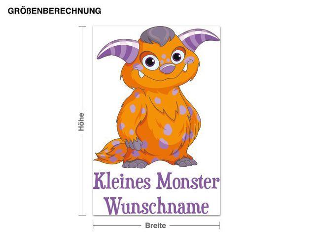 Wunschtext-Wandsticker Kleines Monster