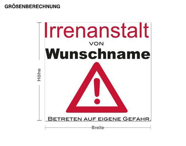 Wunschtext-Wandsticker Türtattoo Wunschname Irrenanstalt