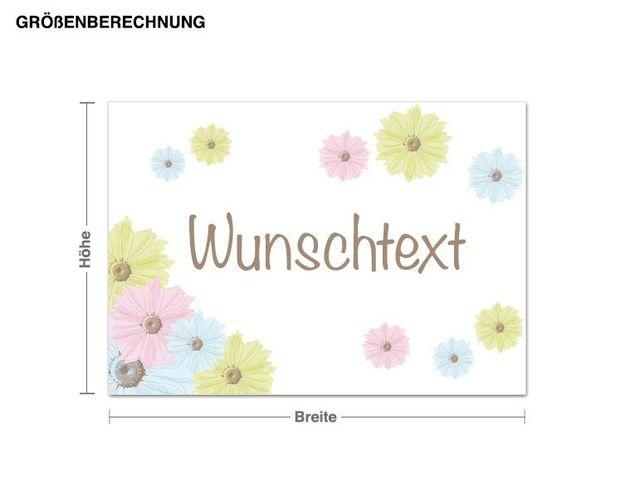 Wunschtext-Wandsticker Vintage Blumen Wunschtext