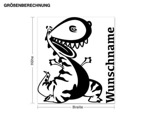 Wunschtext-Wandtattoo Dinosaurier