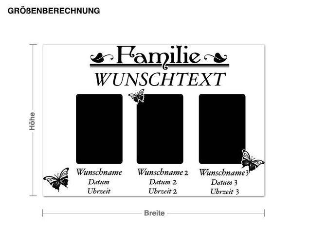 Wunschtext-Wandtattoo Familien Rahmen