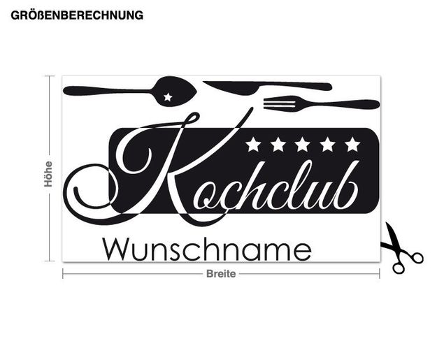 Wunschtext-Wandtattoo Kochclub Wunschname