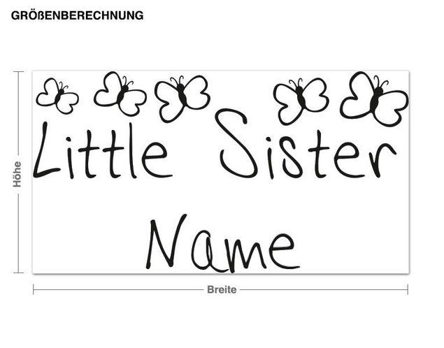 Wunschtext-Wandtattoo Little Sister