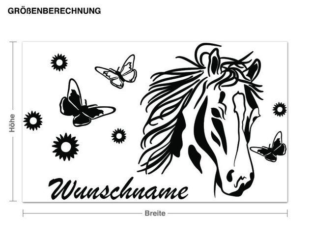 Wunschtext-Wandtattoo Pferd mit Blumen