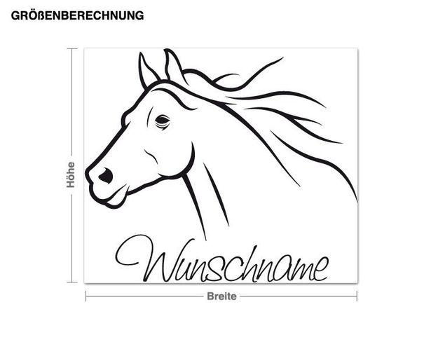 Wunschtext-Wandtattoo Pferd