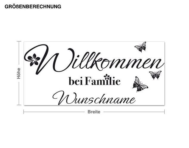 Wunschtext-Wandtattoo Willkommen bei Familie Wunschname