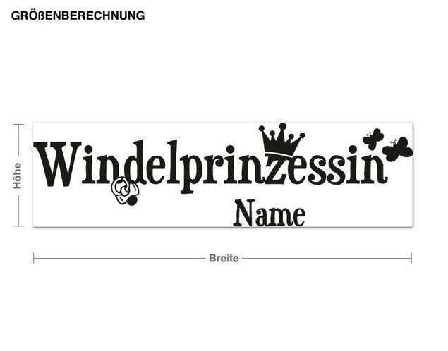Wunschtext-Wandtattoo Windelprinzessin