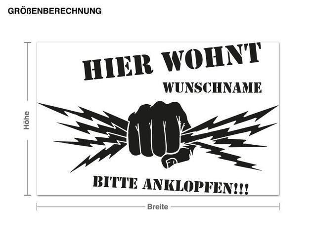 Wunschtext-Wandtattoo Wunschname Bitte anklopfen!