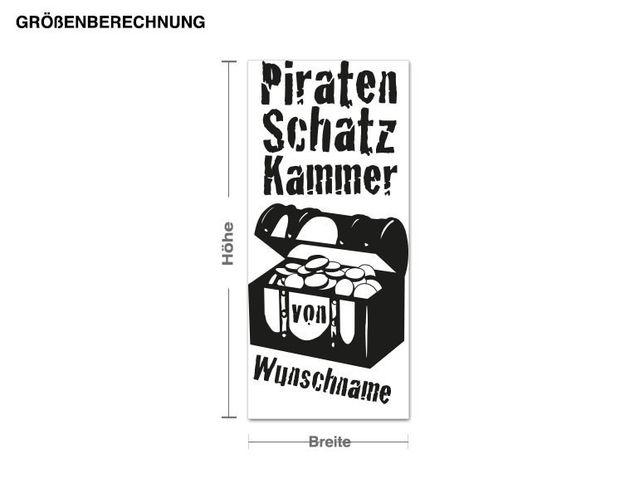 Wunschtext-Wandtattoo Wunschname Piratenschatzkammer