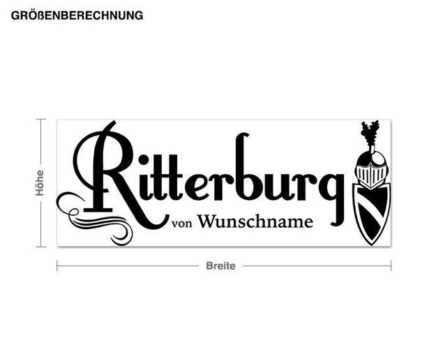 Wunschtext-Wandtattoo Wunschname Ritterburg