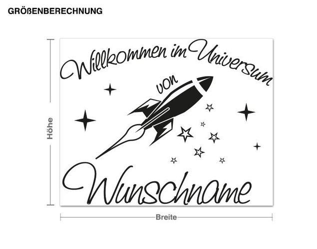 Wunschtext-Wandtattoo Wunschname Universum