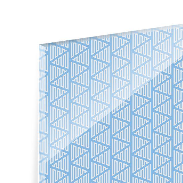 Spritzschutz Glas - Zackiges Dreiecksmuster in Blau - Querformat 3:2